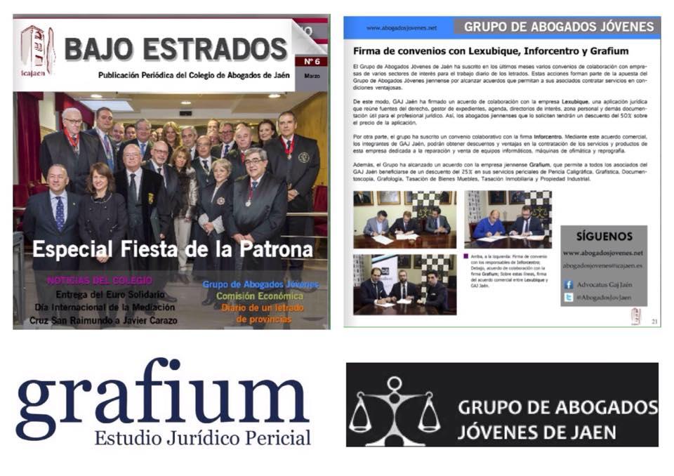 Nuestro equipo en la Revista Bajo Estrados del Ilustre Colegio de Abogados de Jaén